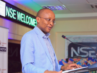 Nairobi Securities Exchange Chairman Sam Kimani giving his remarks during the annual NSE Charity Trading Day