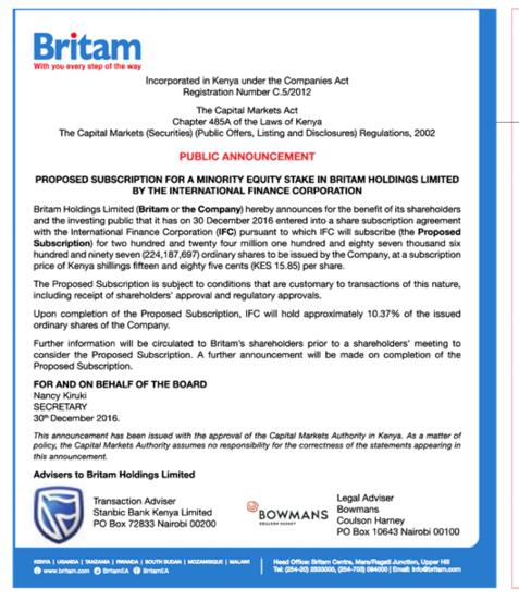 Britam WB Announcement