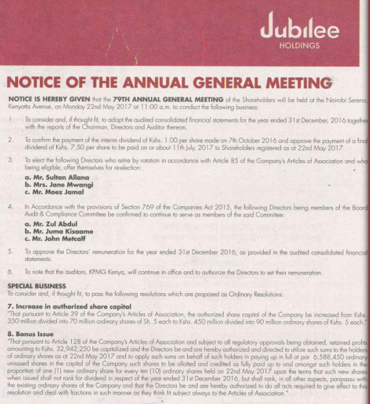 Jubilee Insurance Kenya 2017 AGM