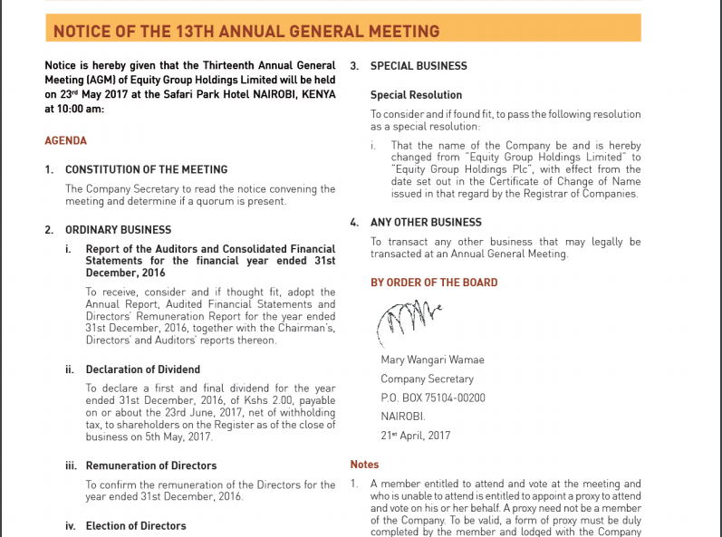 Equity Bank Kenya AGM